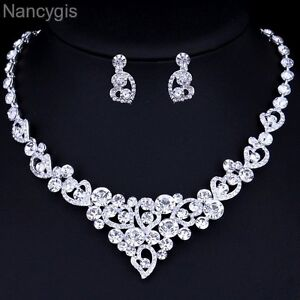 Silver Crystal Heart Necklace and Earrings Party Bridal Wedding Jewellery Set