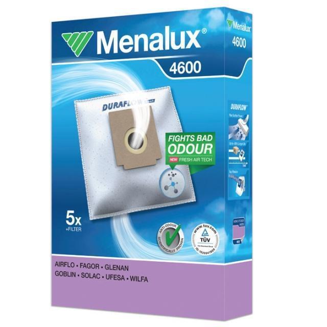 MENALUX 4600 VACUUM CLEANER BAGS 5 BAGS + 1 FILTER DURAFLOW DUST BAGS 9001961391