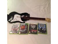 XBOX 360 wireless Fender Guitar + optional selection of games