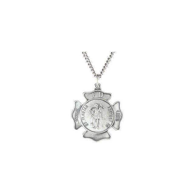 18.00 Mm Sterling Silver St.Florian Medal W// 18 Inch Chain