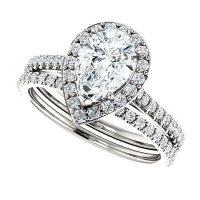 2.50 Ctw Halo Pear Cut U-Setting Pave Diamond Engagement Ring Set F,SI1 14K WG 3