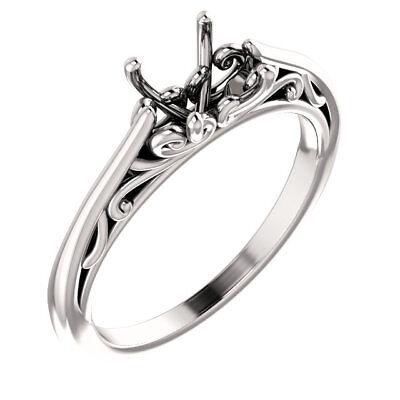 (Real 14k White Gold Solitaire Semi Mount Round Filigree Vintage Wedding Ring)