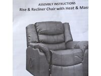 Rise and recliner chair with heat massage