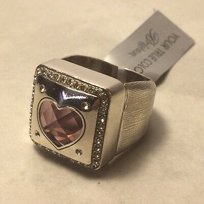 BRIGHTON Open Hearted Ring Pink Swarovski Crystal Gorgeous Statement -Size 9 NEW