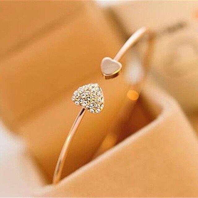 Adjustable Crystal Double Heart Bow Cuff Bracelet