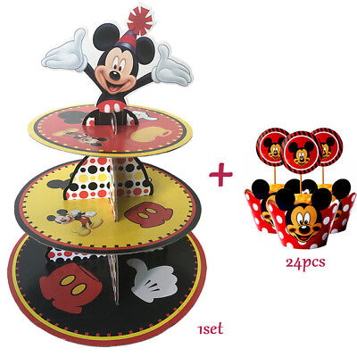 Kids Birthday Party Supplies Mickey Mouse Cupcake Stand 24 Pcs Cupcake Wrappers - Mickey Mouse Cupcake Stand