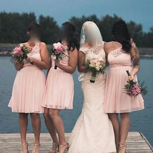 One shoulder pink lace dress for sale - worn once