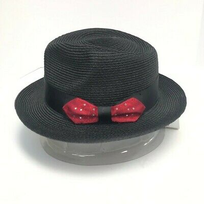 Steven Land Men's Black Fedora Hat and Hat Band Red Rhinestone Bow Sizes S -XL - Red And Black Fedora Hat