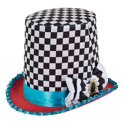 Mad Hatter Chequered Top Hat Fancy Dress Costume Tea Party Alice In (Mad Hatters Tea Party Kostüme)