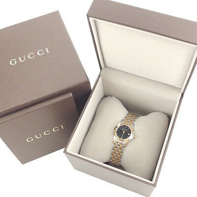GUCCI watches round face logo Ladies Authentic Used Y3181