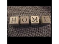 Wooden block home sign