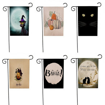 Halloween Fall Autumn Cute Garden Flag Pumpkin Free Track Canvas 1 Sided Outdoor