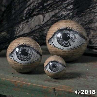 3 SPOOKY Eyeball Orbs Halloween Party DECORATION Ophthalmology MACABRE - Decorate Halloween