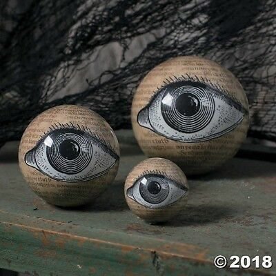 3 SPOOKY Eyeball Orbs Halloween Party DECORATION Ophthalmology MACABRE DECOR](Halloween Decorated)