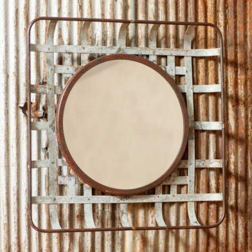 New large Metal Tobacco Basket Wall Mirror In Distressed Metal
