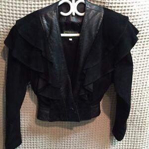 Danier - Vintage 1980's black suede/leather suit.  Excellent