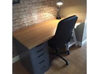 Ikea desk with draws, chair and lamp