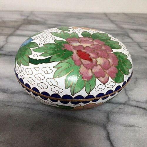 "Round Cloisonne Trinket Box Enamel 4"" Diameter Floral Motif Peony Butterfly"