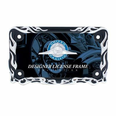 United Pacific Flame Motorcycle License Plate Frame Black/Chrome - Flame License Plate