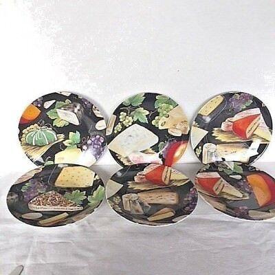 "Limoges Fromage Fond Noir 8 1/4"" Plates Set of 6"
