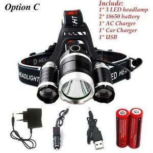 Super strong Waterproof 9000Lm LED Headlamp flashlight  with 4 Mode rechargeable