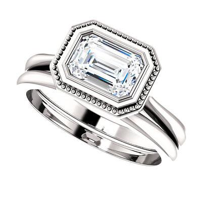 1.02 carat GIA cert Emerald cut Diamond Solitaire Engagement 14k Gold Ring J SI2 5