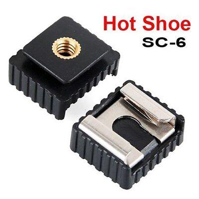 """[Lot de 2] Adaptateur vis 1/4"""" femelle griffe sabot hot shoe Flash Nikon Canon"""