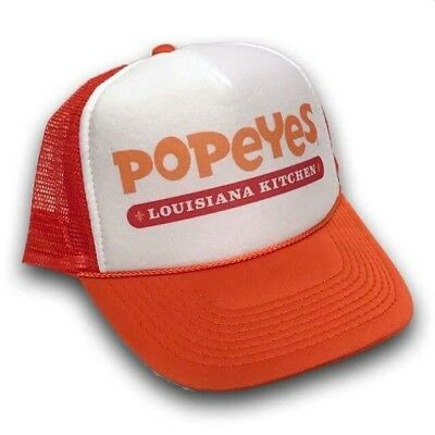 Popeyes Fried Chicken Trucker Hat Vintage Louisiana Style Snapback Cap Orange