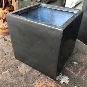 PAIR OF CLEARANCE 29cm Faux Lead Plain Grey Garden Planter Square Plant Box Pot
