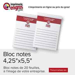 Bloc notes en tablettes personnalisables ☏450-447-0578