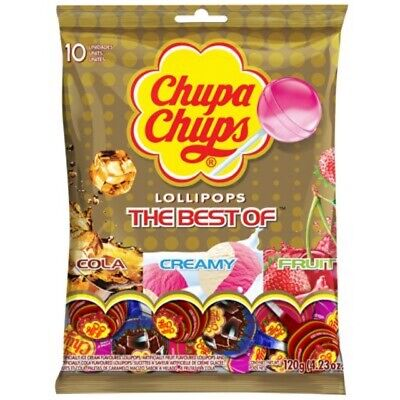Chupa Chups The Best Of Cola Fruit Creamy 10's Lollipops Best Party