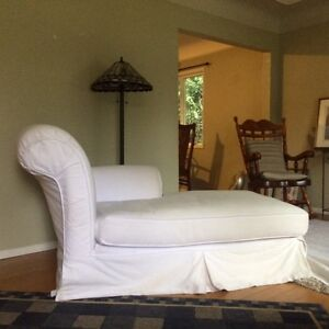 Slip covered chaise lounge