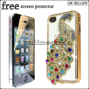 FOR APPLE iPHONE 4 4G 4S PEACOCK CRYSTAL DIAMOND CASE BLING DIAMANTE HARD COVER