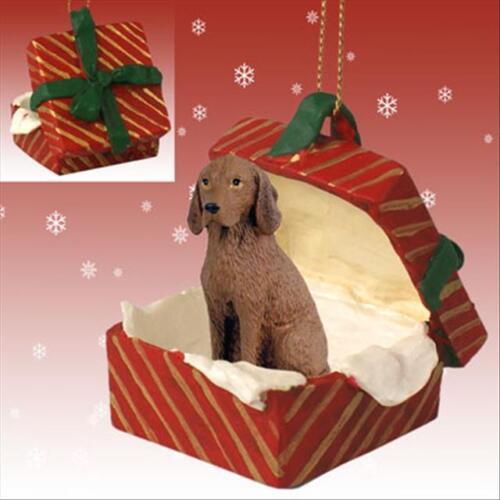 Vizsla Dog RED Gift Box Holiday Christmas ORNAMENT
