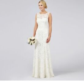 """Brand new with tags: Debut """"Elaine"""" Ivory Lace Wedding Dress, RRP £199, UK Size 10"""