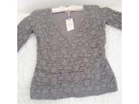 Ladies Kaliko Grey Lace Top - Brand new never worn