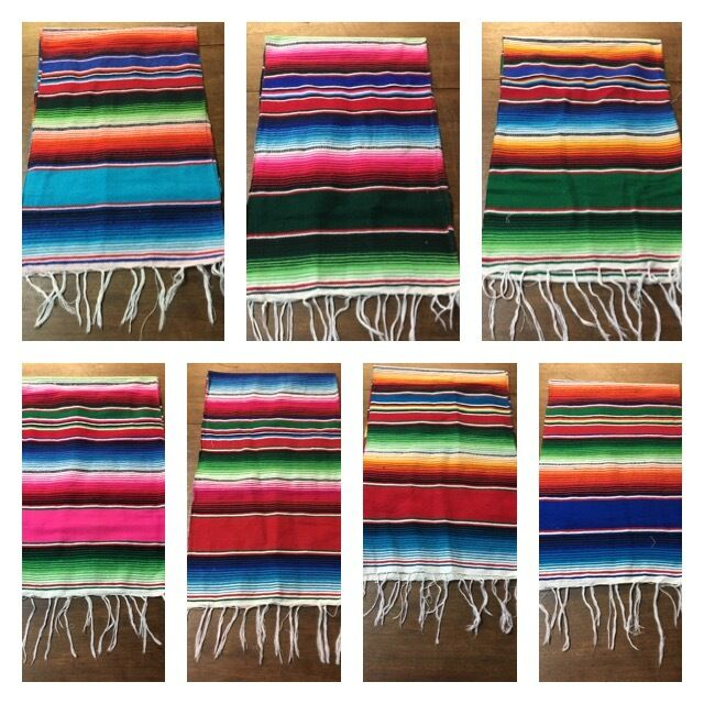 "Mexican Serape Table Runner 81""X14"" 1st quality XLARGE ,Salt"