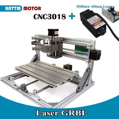3 Axis Mini 3018 Grbl Control Cnc Router Engraver Milling Machine5500mw Laser
