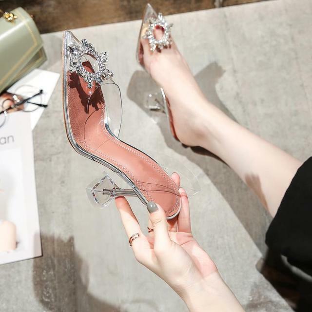 как выглядит Sun Flower Rhinestone Gladiator PVC Peep Toe Shoes Wine Cup High Heel Sandals фото