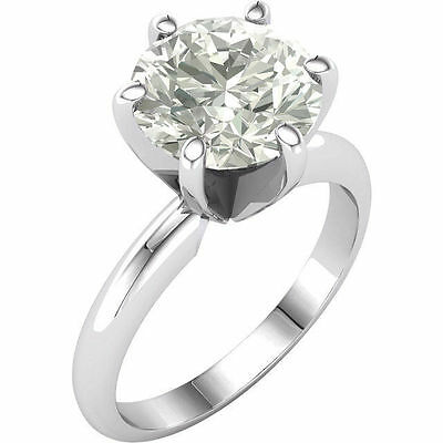 Moissanite Round Brilliant Cut Engagement Ring 14k White Gold 1 Ct