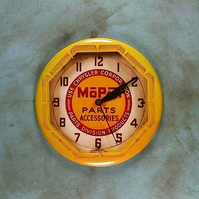 "Vintage Style Neon Advertising Clock Fridge Magnet 2 1/4"" Mopar Chrysler Parts"