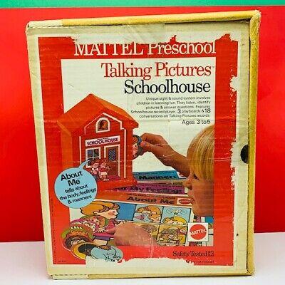Mattel toys 1972 talking pictures schoolhouse preschool learning vintage box vtg