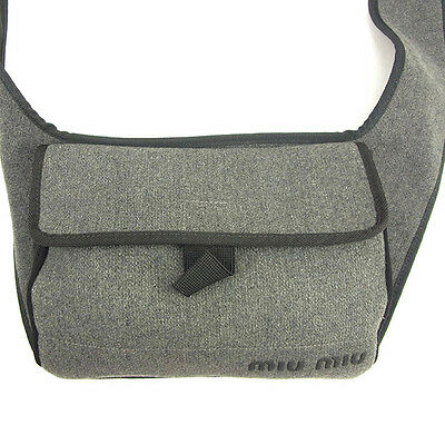 miumiu Shoulder bag Logo Grey Black Woman unisex Authentic Used T321
