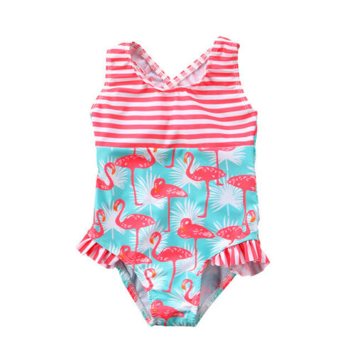 NEW Girls Blue Flamingo Striped Ruffle Swimsuit Bathing Suit 2T 3T 4T 5T 6