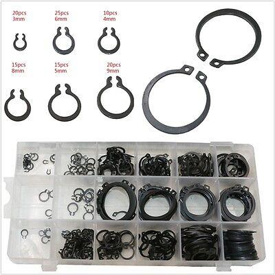 300 Pcs 18 Sizes Black Metal Circlip Snap Ring C-Clip Retaining Ring Universal