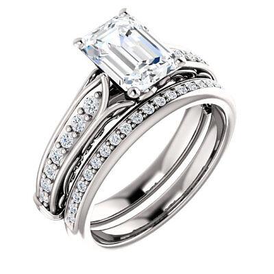 14k white gold ring 1.27 ct, 1.03 ct GIA cert. Emerald cut Diamond  D SI2 #603