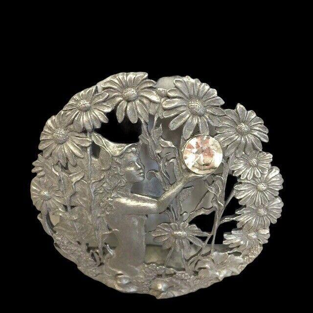 "Vintage Pewter Fairy 3"" Jar Cover Rare 1989"