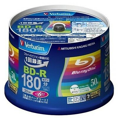 New 50 Verbatim Printable Blu-ray 25GB 6x blank BD-R Blank Disc Media 25GB Japan