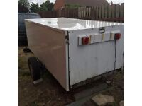 Car trailer. Box tailer solid chassis on. Suspension