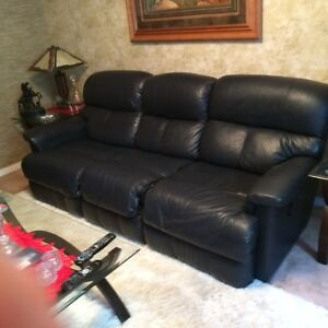 Genuine Leather Reclining Couch and Chair